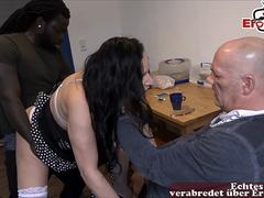 german old cuckold with young girlfriend and bbc threesome