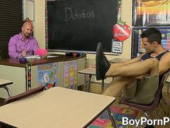 Teacher hitting twinks tight ass from the back as he moans