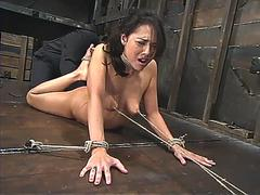 Bosy streched in bondage n nippled pulled hard with pussy fingered n fisted