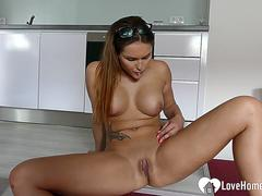 Busty beauty with tattoos loves to masturbate