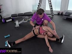 Fitness Rooms Flexible petite bubble butt babe filled up with big cock