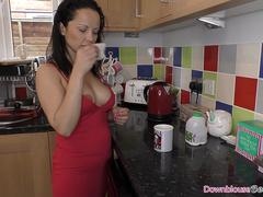 Huge tits brunette in the bathroom painting her nails
