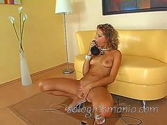 SOLOGIRLSMANIA young blonde girl playing with black dildo