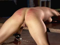 Obedient slave with legs and arms tied receives whipping