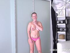 Chubby blonde shows off her skills