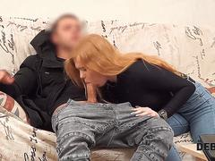 Debt4k. Sweetie Rose Wild with sexy red hair agrees to pay for big TV with her holes