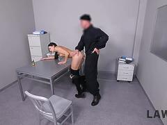 LAW4k. Smart girl Leanne Lace steals BMW but security guards fuck her for that