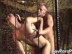 Stud holds onto his lover and fills his tight butt hole deep