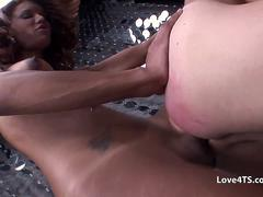 Two shemales fuck a guys ass at the same time