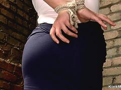 Tied to the ground busty sub toyed