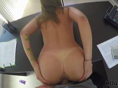 LOAN4K. Loan agent organizes sex casting for angelface on table