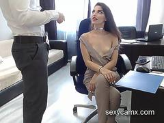 Horny secretary with hot slim body suck and fuck her boss live at sexycamx.com