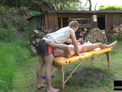 Amateur shaved twink gets horny at massage