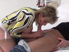 Cheating british milf lady sonia pops out her oversized boobies
