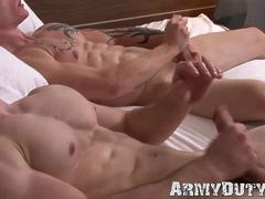 Recruit jocks have some anal fun together before jerking off