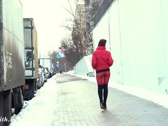 Red Tights. Jeny Smith public walking in tight red pantyhose