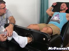 Hardcore feet and body tickling with bound and tied up jock