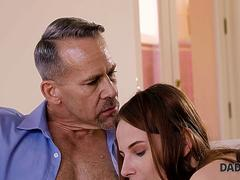 DADDY4K. Redhead quarrels with her BF but his father calms her down