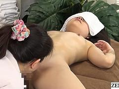 Lesbian massage at secret Japanese clinic Subtitles