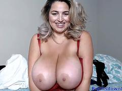 Blonde with gigantic tits
