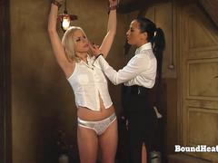 Young Lesbian Slave In Chains Stripped And Groped By Mistress