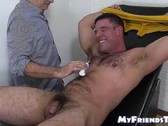Hairy stud Derek Atlas bound and tickled by dominant master