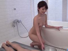 Maya Kawamura rubs the cock before sucking it  - More at javhd net