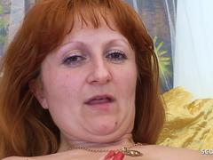 Hairy Ginger Mature Mom Seduce Step Son to Fuck her Rough