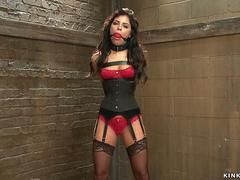 Slave in leather corset pussy vibed