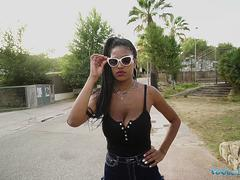 Public Agent Ebony Tina Fire and huge swinging and bouncing boobs fucked outdoors
