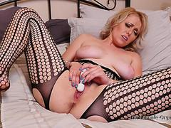 Hot MILF With Incredible Body In Net Body Stocking Satisfies Herself With Hitachi