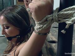 Brunette tied and whipped and banged