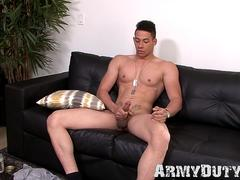 Athletic soldier David Strong moans during hot masturbation