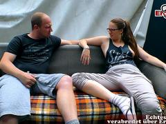 german amateur couple try porn with glasses