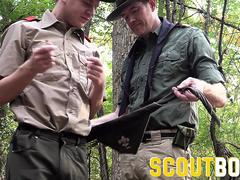 ScoutBoys - Hot hung Scoutleader barebacks cute hairless scout in wood