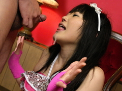 Hello mikity japanese doll pokes her hairy pussy with a huge dildo feature