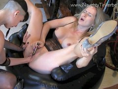 Kinky blonde Naughty Tinkerbell is subjected to extreme masturbation and pussy fisting