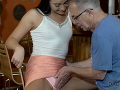 DADDY4K. Grey-haired dad makes love to his sons chick in his own bar