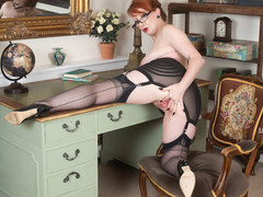In kinky nylons and heels office redhead slut finger fucks herself to orgasm