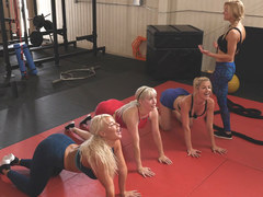 Busty Blonde Matures In An Only Girl Gym
