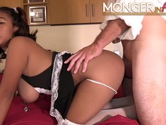 Asian maid with huge natural tits fucks her new boss